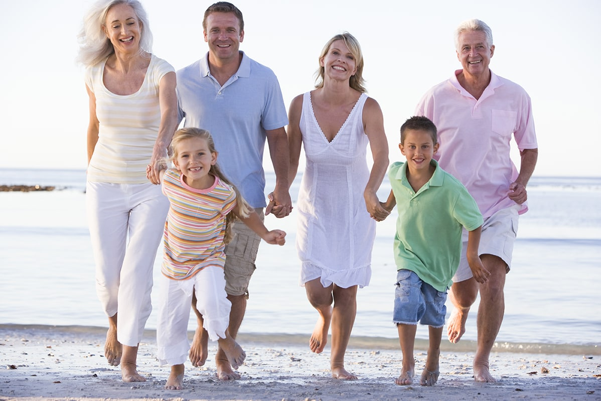 Healthy family on beach